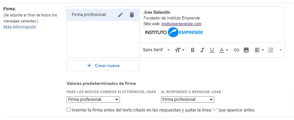 cómo configurar tu firma en gmail ejemplo