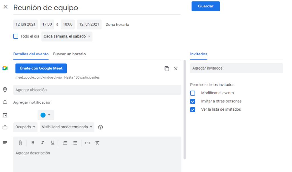 agendar reunion de google meet en el calendario de google