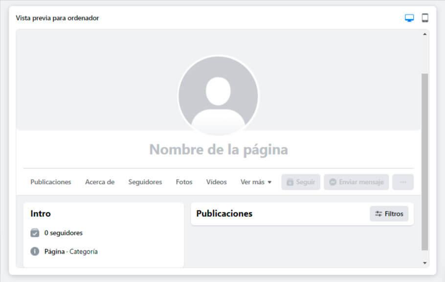 editar página de empresa en Facebook