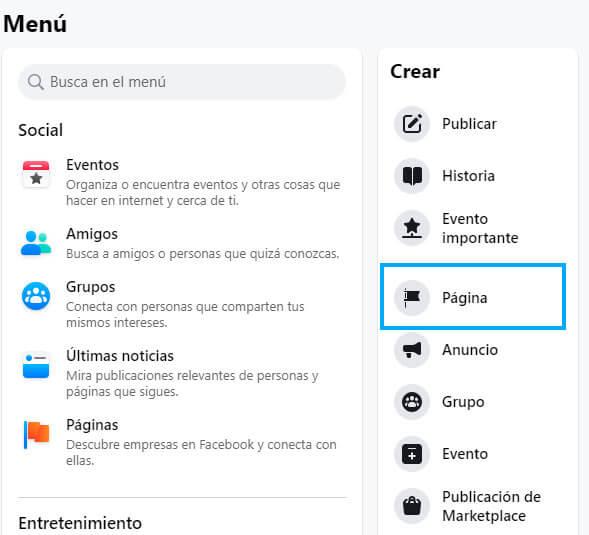 configuración para crear página en facebook