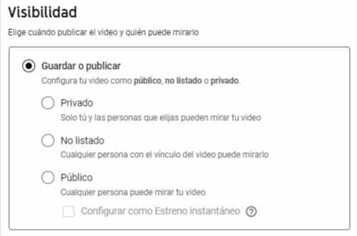 configurar visibilidad de video en youtube