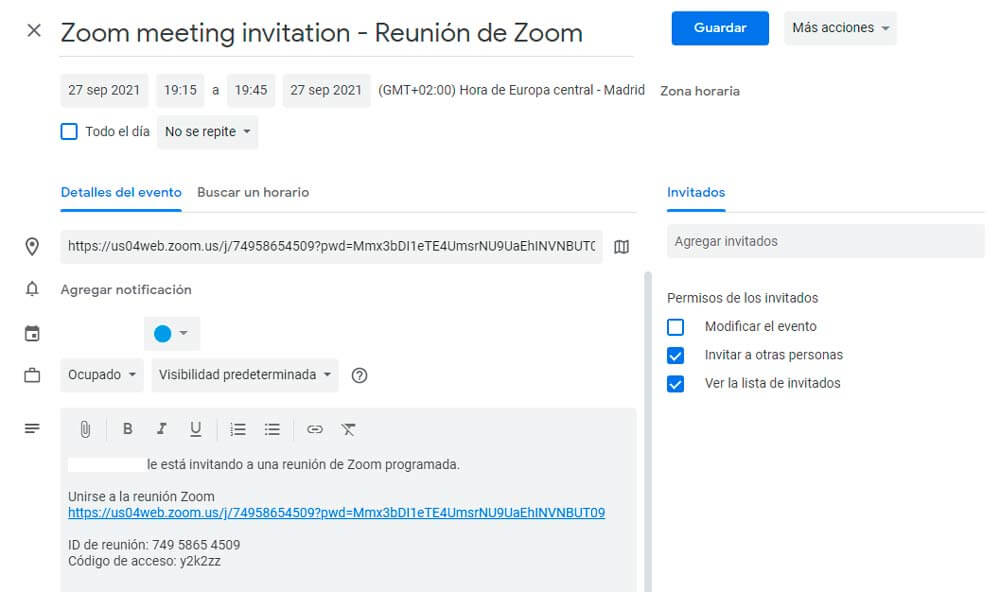 programar reunión en zoom desde calendar