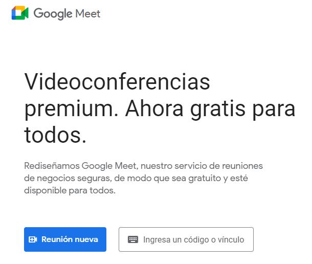 app de videoconferencias: google meet